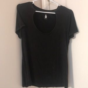 PacSun Distressed black cutout T-shirt